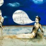 canone infinito spiritoso_handmade illustration_2011: ink, coffee, acrylic, music paper *SOLD*