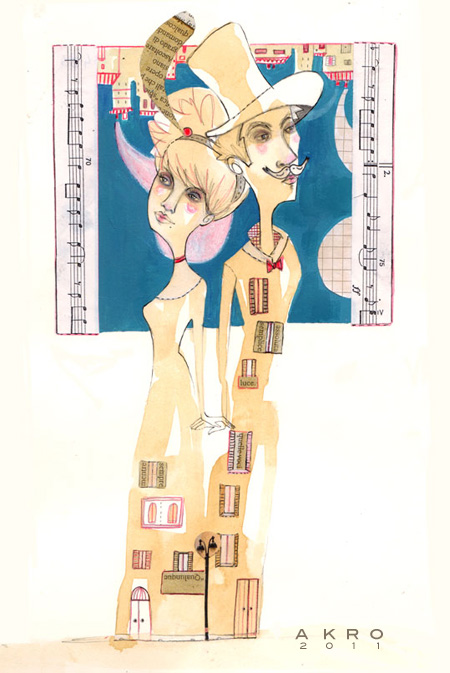 i Due_handmade illustration 2011: ink, pencil, coffee, collage