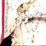 E i tuoi capelli che sono fili scoperti_handmade illustration 2011: ink, coffee, acrylic, music paper *SOLD*
