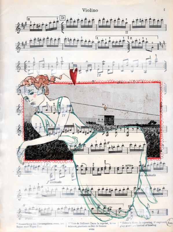 violino_china pastelli e foto su spartito musicale