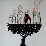 disegno sul poster di SemInAriaSognInTerra_festival d'Arte contemporanea_Maranola agosto2011