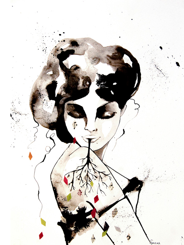 femme onirique #3_ink &collage on paper_24x33cm_SOLD