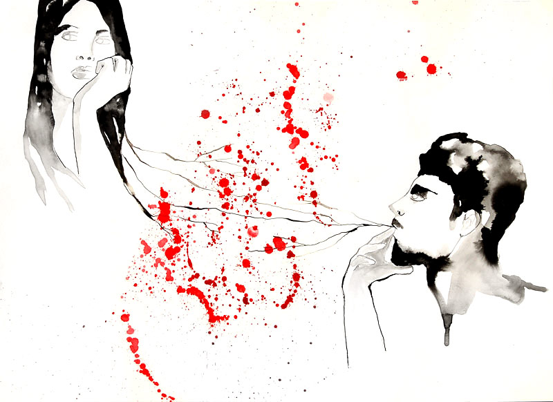 Please, connection_ink & red on paper_51x37cm_2012 #SOLD#
