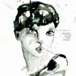 il pleut_ink & pastels on paper_2012