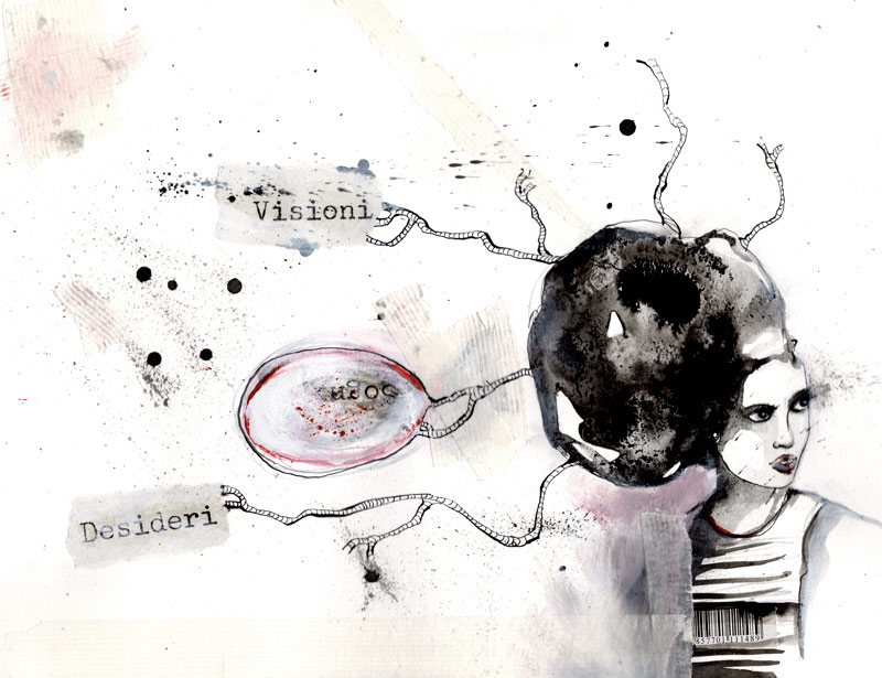 medusa_ink, collage, acrylic on paper_2012
