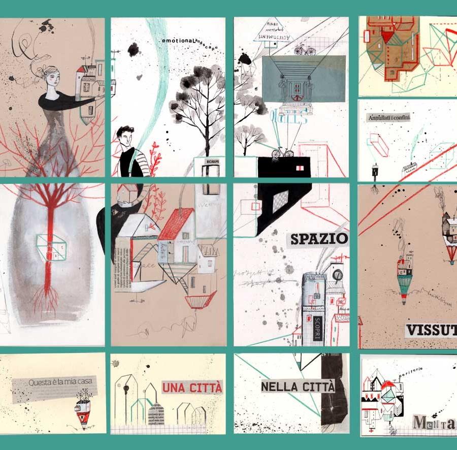emotionaLandscape_puzzle per Cityscapes_china collage e rosso su cartone*SOLD*