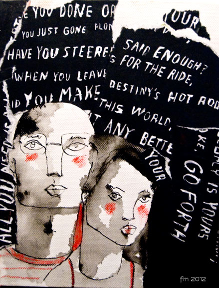 you&meENOUGH_ink, collage, red pastel & words cut on canvas_2012*SOLD*