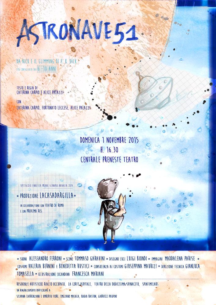 locandina spettacolo teatrale ASTRONAVE51_Lacasadargilla_Roma