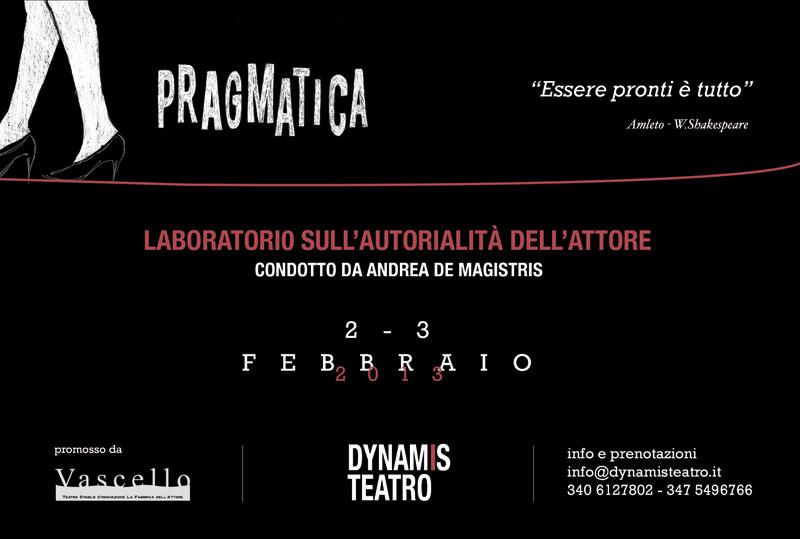 illustrazione per locandina e flyer PRAGMATICA_laboratorio teatrale_DynamisTeatro_2013_Retro