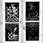 allestimento su ante anni 40_scratchboard, legno, vetro, collage_2013