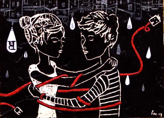 piccolo tango_handmade scratchboard & red on wood_2013