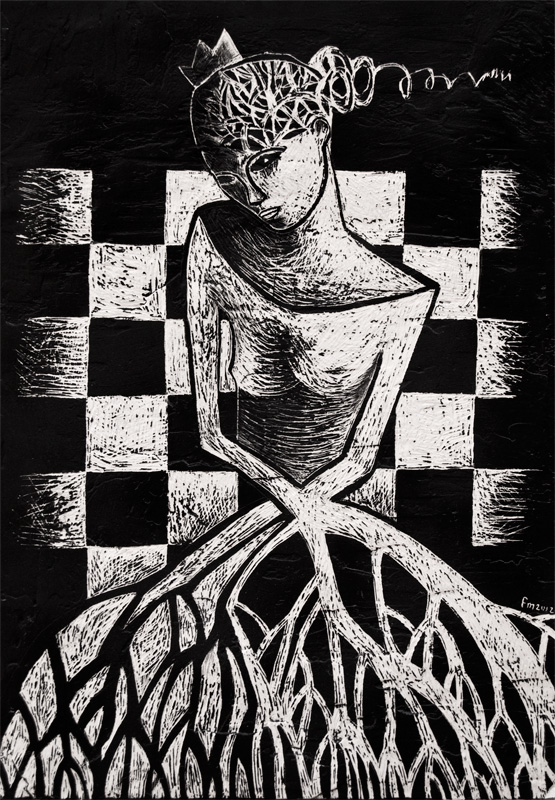 la regina degli scacchi_handmade scratchboard on wood_2012.jpg