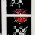 Le fleur rouge_nalda&juri_scratchboard su legno e anta anni '30_2014*SOLD
