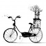 BicycleHouseTree_black ink on paper_2013