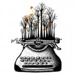 Typewriter for Woods_black ink & coffee on paper_2013
