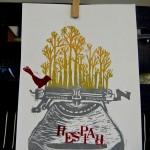 incisione su linoleum&timbri_prova colore_stampa su carta_2013