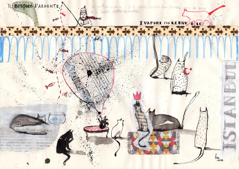 La pesca del Corno d'Oro_china, collage, pastello e parole su carta, 2014