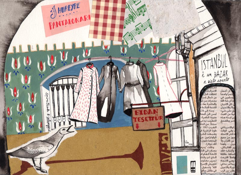 Bazar en plein air_china, acrilico, collage su carta, 2014