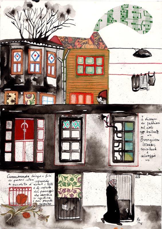 Buongiorno Istanbul_china, acrilico, collage e parole su carta, 2014
