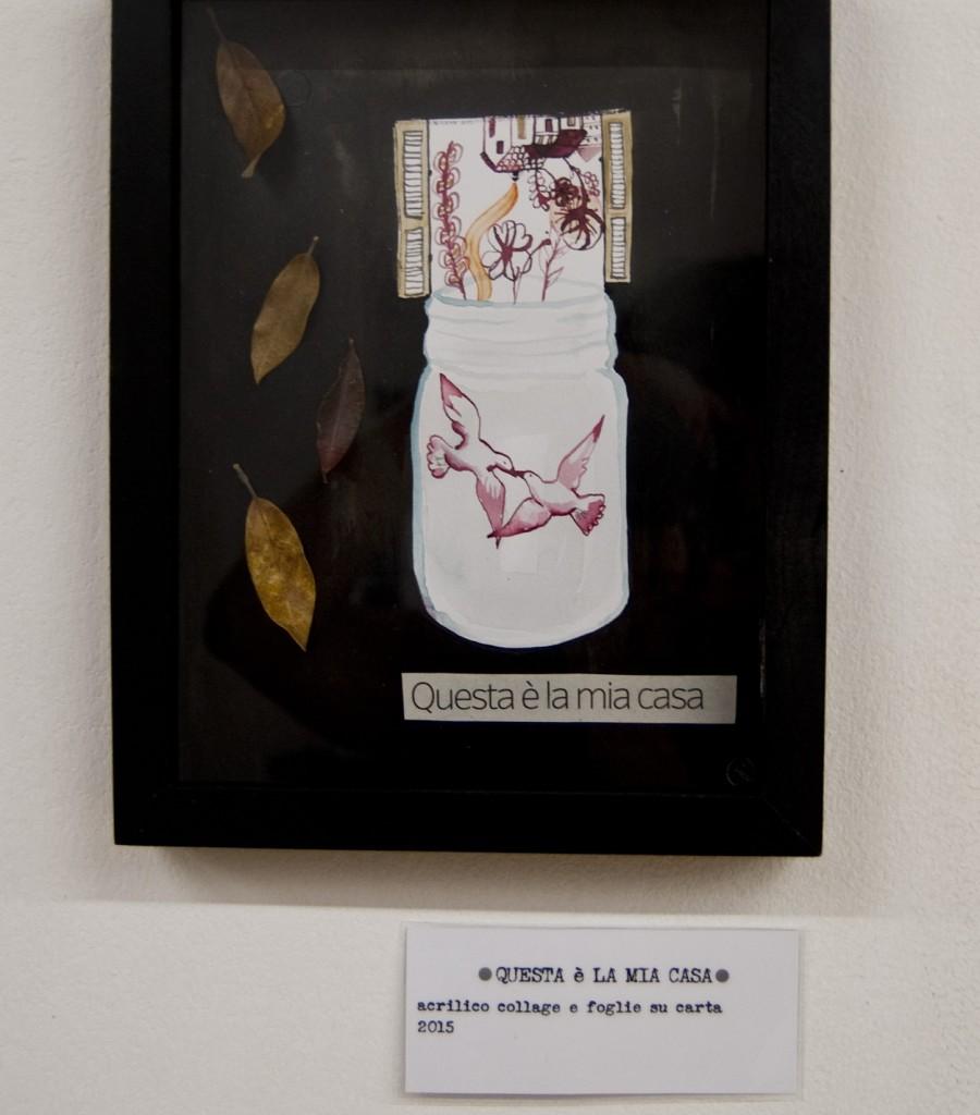questa è la mia casa_acrilico collage e foglie su carta_2015