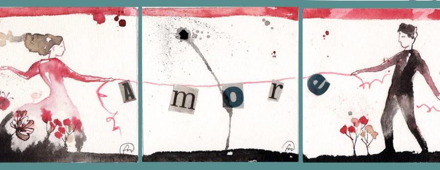 amore_tris_02__china, ecoline, caffè, collage su carta*CelluloideOfficina dell'immagine*