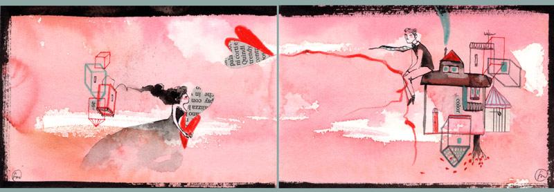 rendez-vous_ china, ecoline, caffè e collage su carta*CelluloideOfficina dell'immagine*