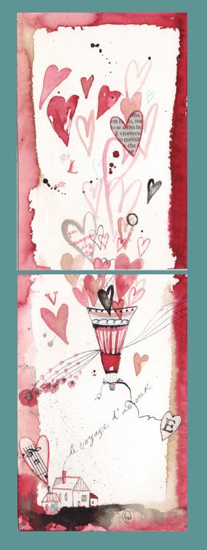 mongolfiera di cuori_dittico_china, ecoline, caffè, collage su carta*CelluloideOfficina dell'immagine*
