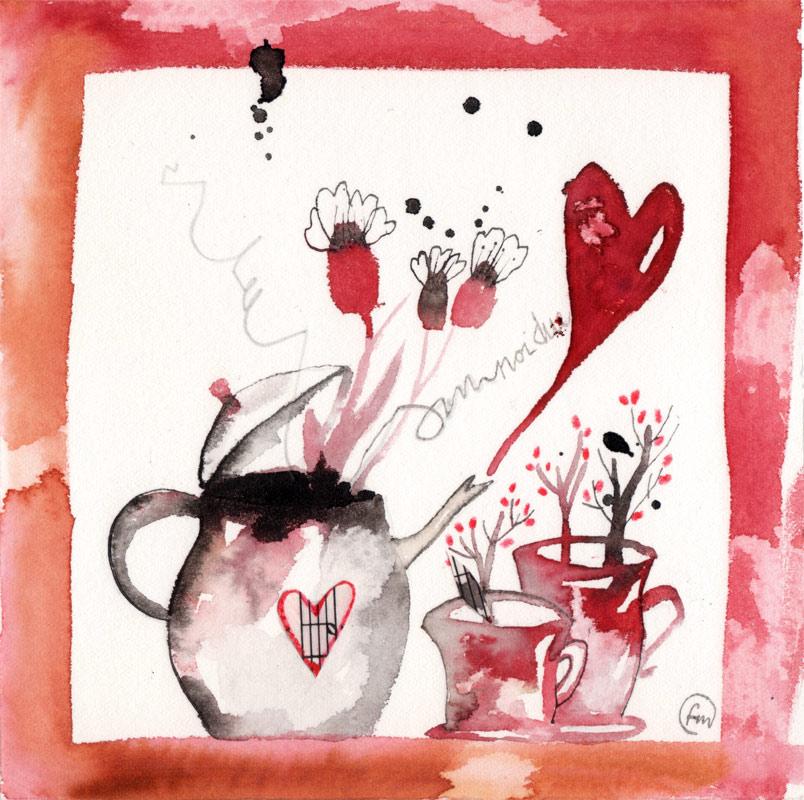 pozione magica_china, ecoline, caffè, collage su carta*CelluloideOfficina dell'immagine*