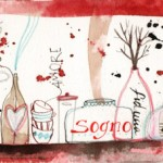 ingredienti segreti_china, ecoline, caffè e collage su carta*CelluloideOfficina dell'immagine*