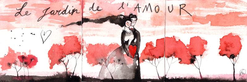 le jardin de l'amour_china ecoline rosso su carta*CelluloideOfficina dell'immagine*