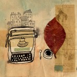 LETTERA 35 -  coffee, ink, collage, red leaf on paper