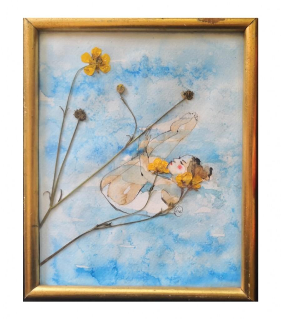 Acrobata acquatica con fiori gialli/SOLD