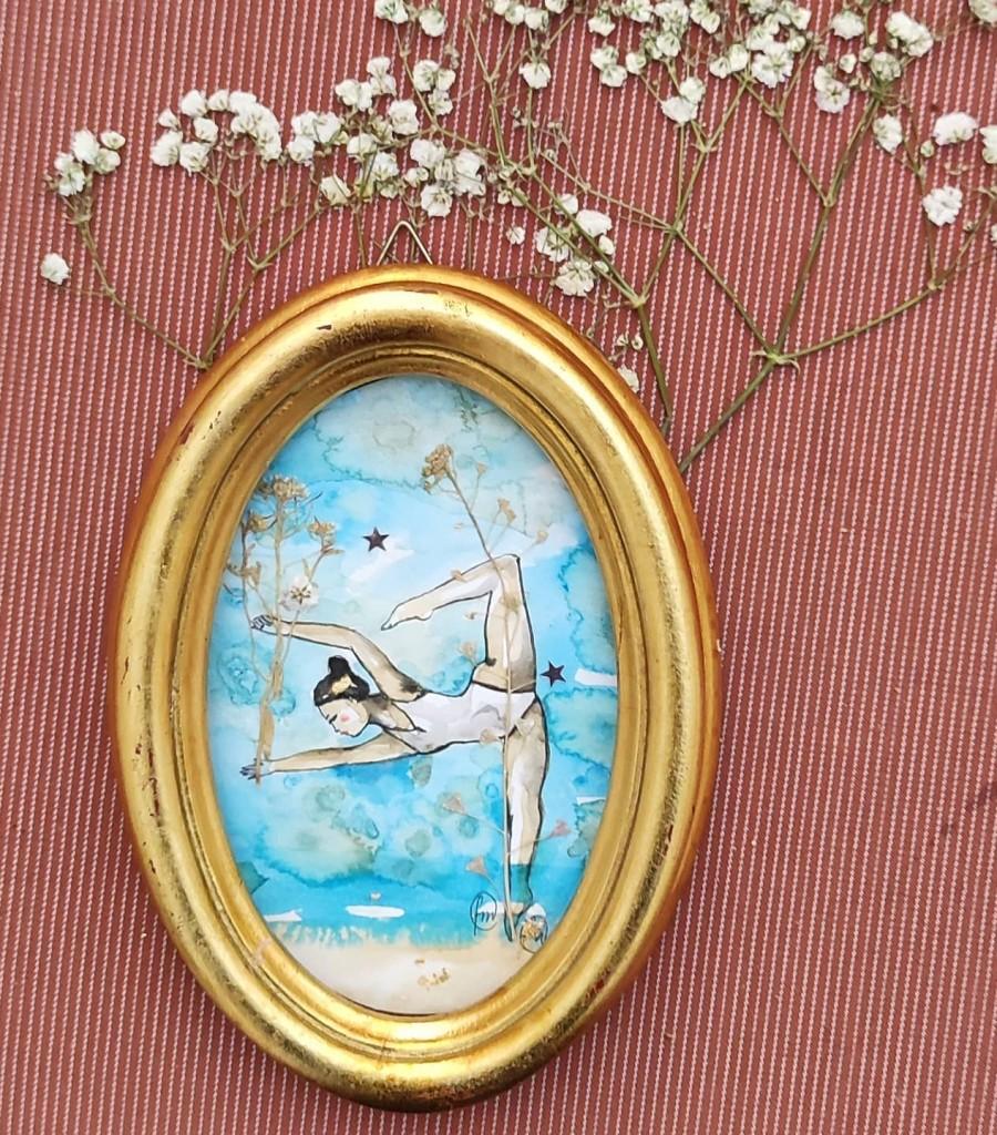 acrobata acquatica in azzurro . 13x18cm